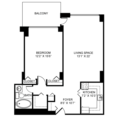 1x1B Floor Plan at Towne House, St. Louis, MO