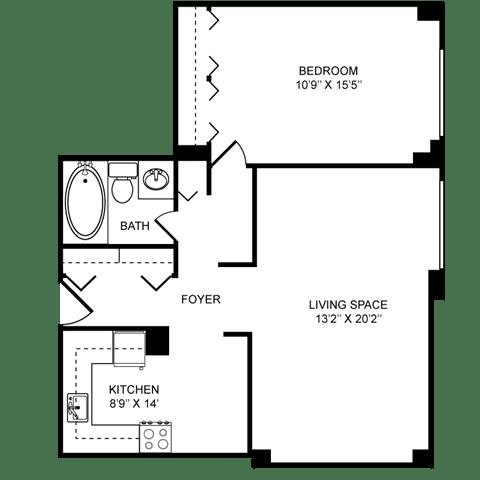 1x1C Floor Plan at Towne House, St. Louis, 63108