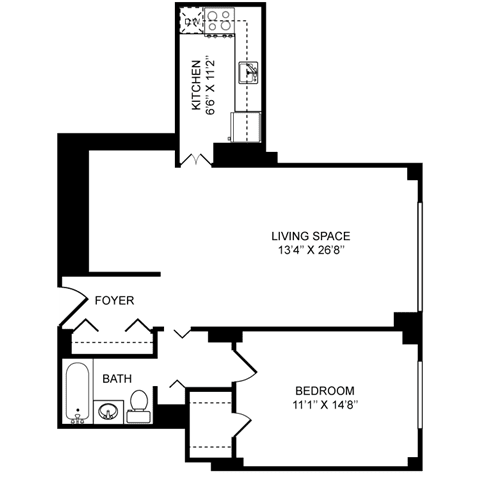 1x1D Floor Plan at Towne House, St. Louis, Missouri