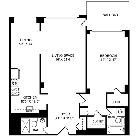 1x2 Floor Plan at Towne House, St. Louis