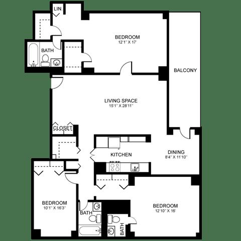 3x3 Floor Plan at Towne House, Missouri, 63108