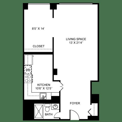 Efficiency Floor Plan at Towne House, St. Louis, MO, 63108