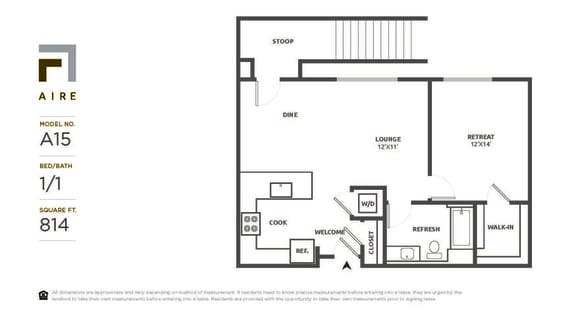 A15 Floor Plan at Aire, San Jose, CA