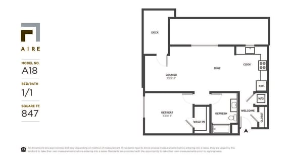 A18 Floor Plan at Aire, San Jose