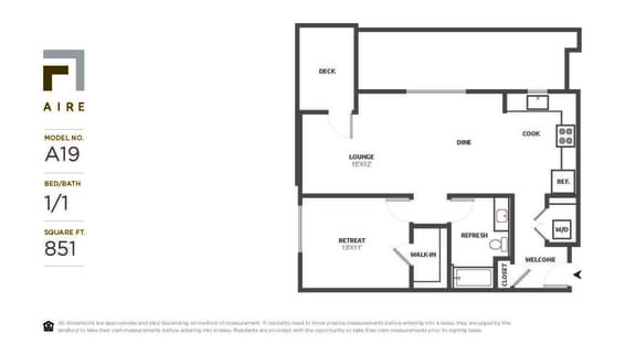 A19 Floor Plan at Aire, California