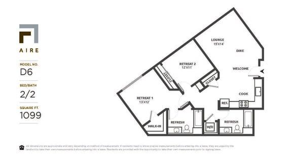 D6 Floor Plan at Aire, San Jose, 95134