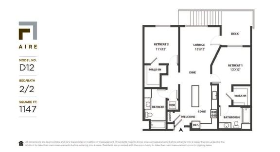 D12 Floor Plan at Aire, California, 95134
