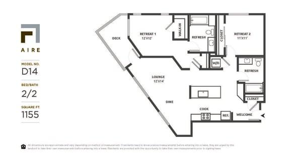 D14 Floor Plan at Aire, San Jose, CA
