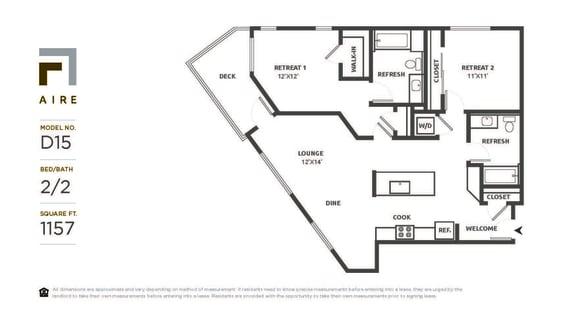 D15 Floor Plan at Aire, San Jose, 95134