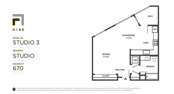 Studio 3 Floor Plan at Aire, California, 95134