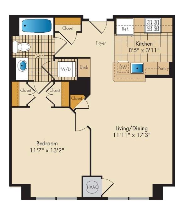 1 Bedroom 1B Floor Plan at Highland Park at Columbia Heights Metro, Washington, DC