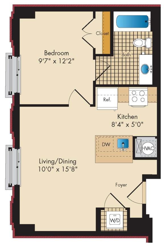 1 Bedroom B3 Floor Plan at Highland Park at Columbia Heights Metro, Washington, DC, 20010