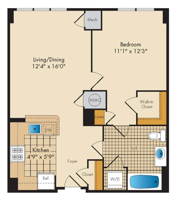 1 Bedroom 1D-A Floor Plan at Highland Park at Columbia Heights Metro, Washington, Washington