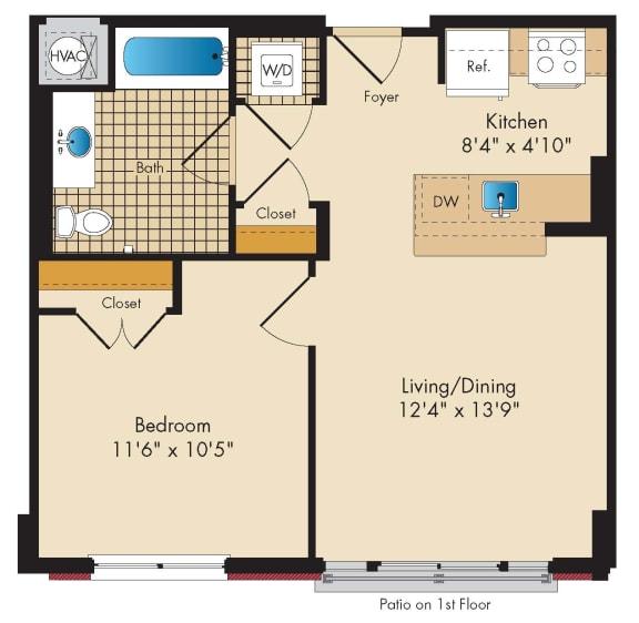 1 Bedroom B4 Floor Plan at Highland Park at Columbia Heights Metro, Washington, 20010