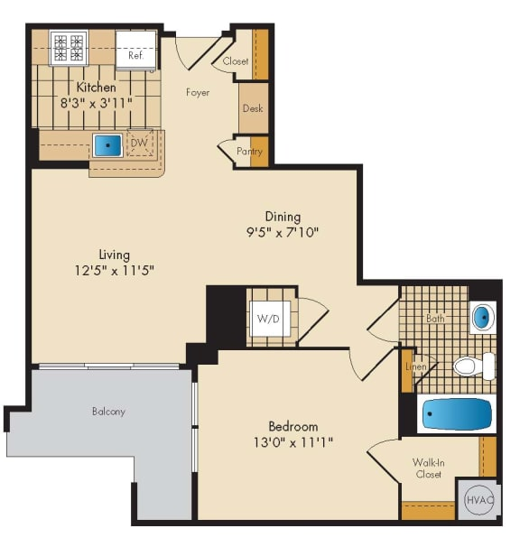 1 Bedroom 1F Floor Plan at Highland Park at Columbia Heights Metro, Washington