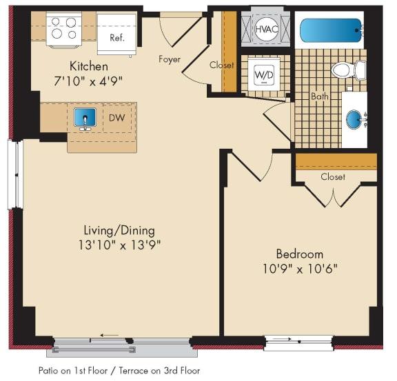 1 Bedroom B1.2 Floor Plan at Highland Park at Columbia Heights Metro, Washington