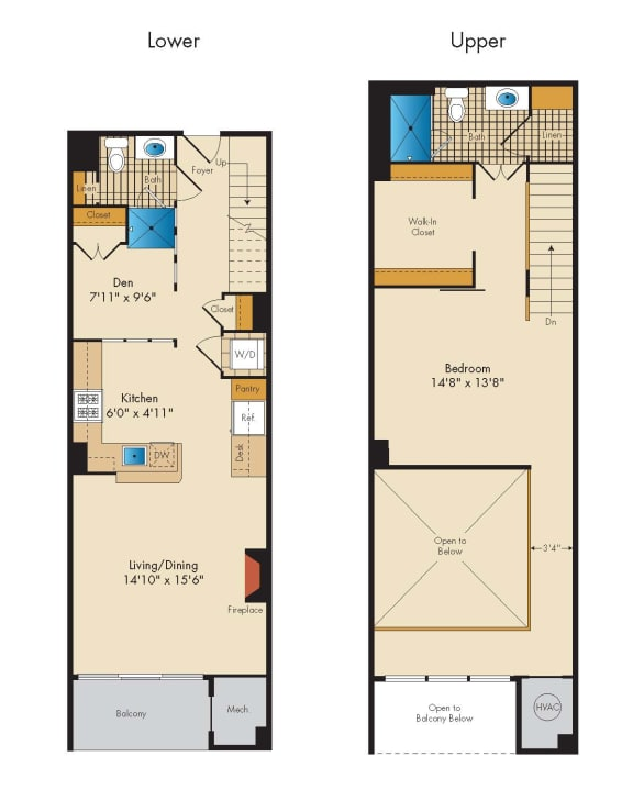 Loft with Den 1P Floor Plan at Highland Park at Columbia Heights Metro, Washington, 20010