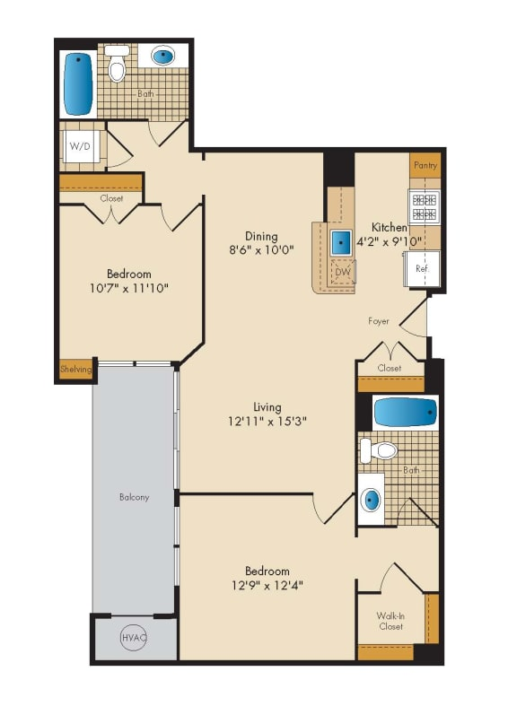 2 Bedroom 2H Floor Plan at Highland Park at Columbia Heights Metro, Washington