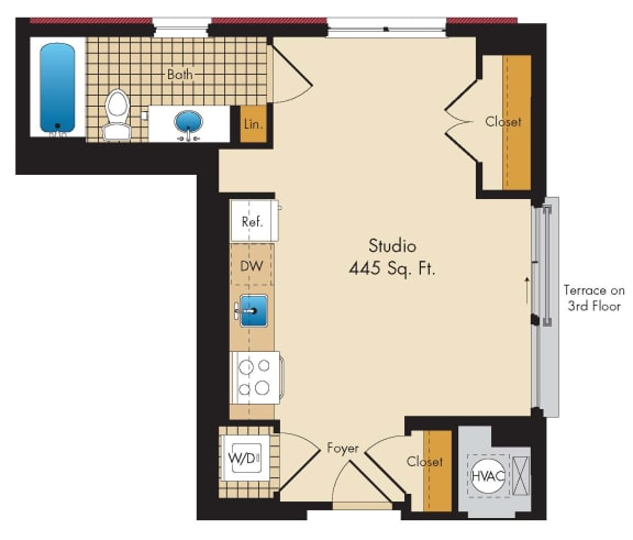 Studio A3 Floor Plan at Highland Park at Columbia Heights Metro, Washington