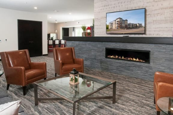 Clubhouse with Fireplace at Overlook on the Creek, Minnetonka