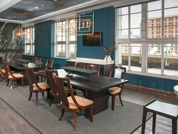 Boardroom with a kitchen and lobby area at Custom House, Minnesota, 55101