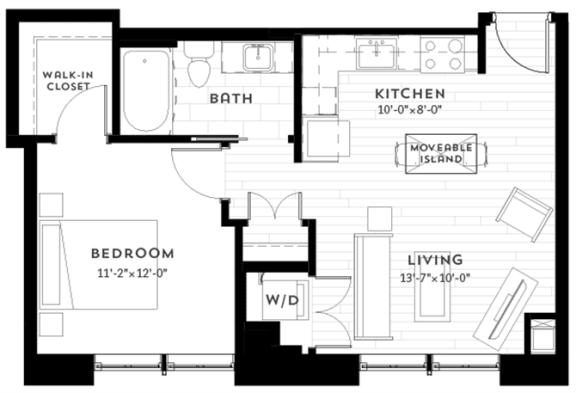 Floor Plan  1C Floor plan at Custom House, St. Paul, MN 55101