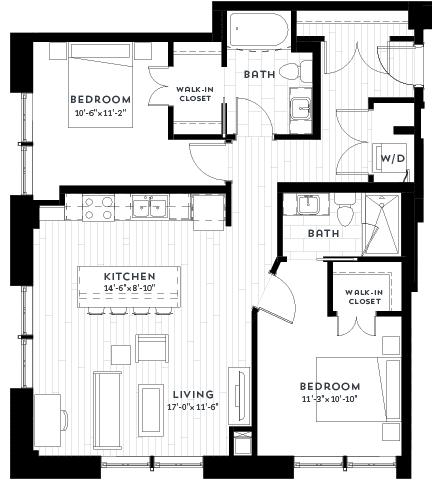 Floor Plan  2G Floor plan at Custom House, Minnesota, 55101