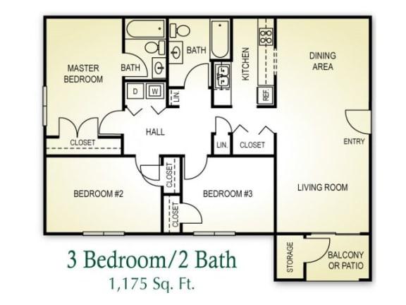 3 Bedroom 2 Bath Floor plan, 1,175 square feet