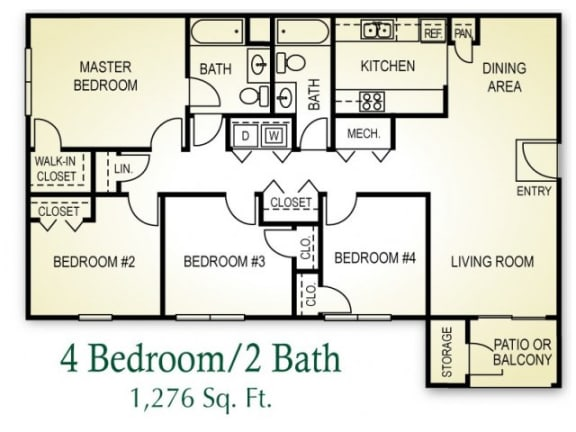 4 Bedroom 2 Bath Floor plan, 1,276 square feet
