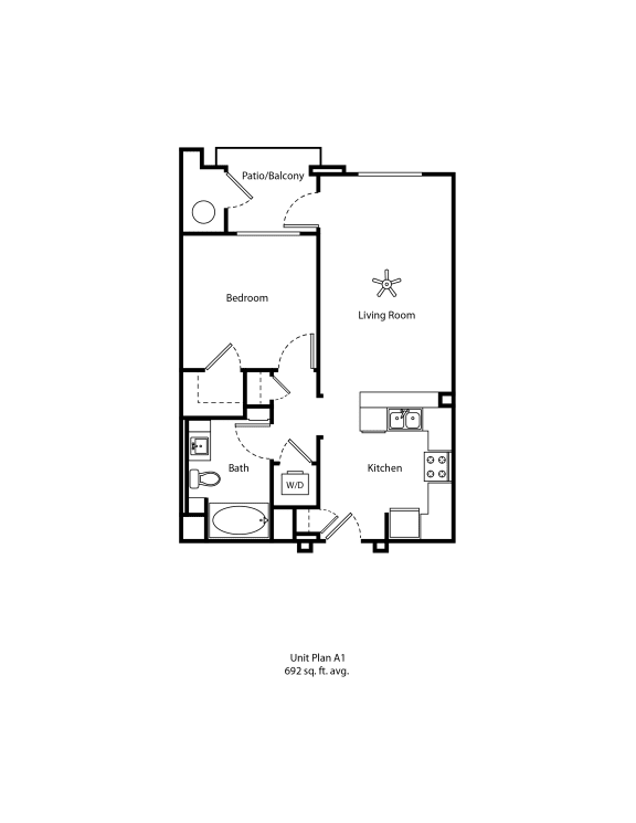 One11_Corona CA_Floor Plan A1_One Bedroom One Bathroom