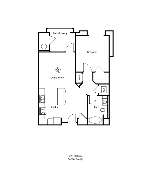 One11_Corona CA_Floor Plan A2_One Bedroom One Bathroom
