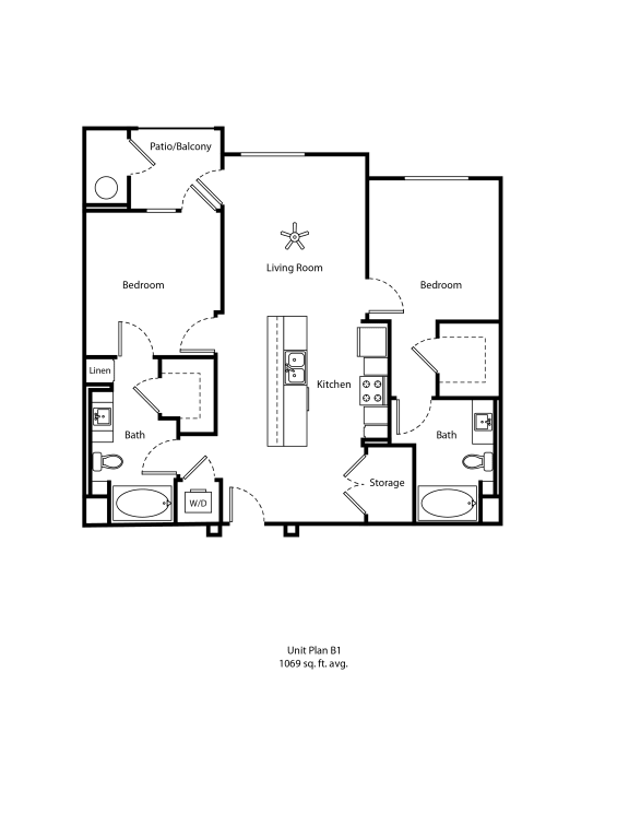 One11_Corona CA_Floor Plan B1_Two Bedroom Two Bathroom