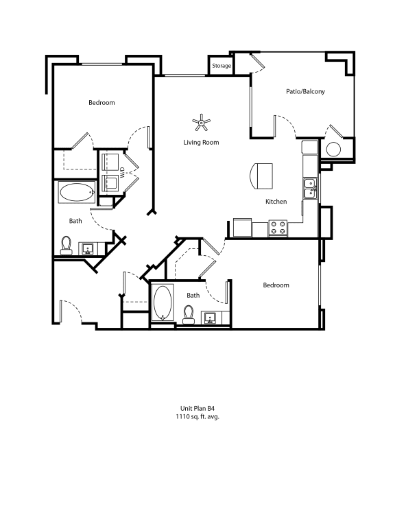 One11_Corona CA_Floor Plan B4_Two Bedroom Two Bathroom