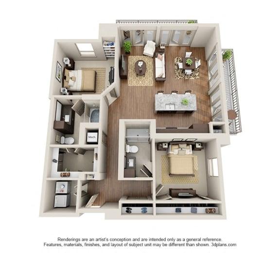Two Bedroom | Two Bathroom Floor Plan at ALARA Uptown, Dallas, TX, 75204