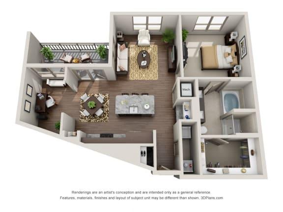 One Bedroom | One Bathroom Floor Plan at ALARA Uptown, Dallas, TX, 75204