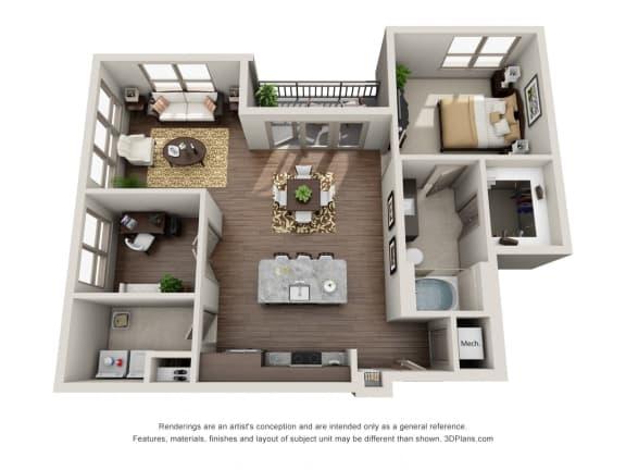 One Bedroom | One Bathroom Floor Plan  at ALARA Uptown, Dallas