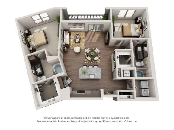 Two Bedroom | Two Bathroom Floor Plan at ALARA Uptown, Dallas, Texas