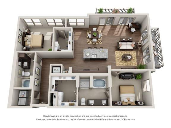 Two Bedroom | Two Bathroom Floor Plan  at ALARA Uptown, Dallas
