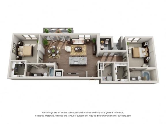 Two Bedroom | Two Bathroom Floor Plan at ALARA Uptown, Texas