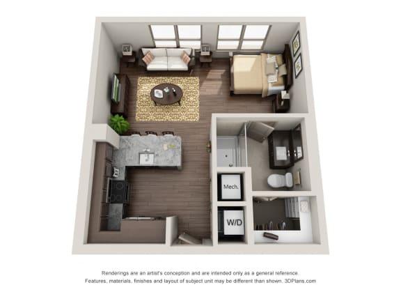 One Bedroom | One Bathroom Floor Plan at ALARA Uptown, Dallas, 75204