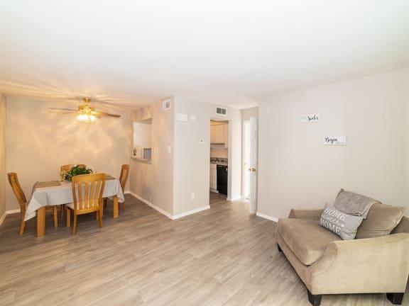 hardwood floors at Carelton Courtyard Apartments, Galveston TX
