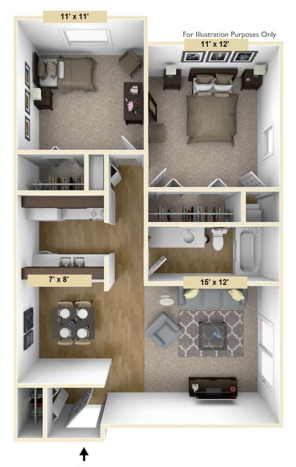 Floor Plan  Coventry Two Bedroom Floor Plan at Windsor Place, Davison, 48423