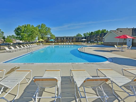 Large Outdoor Pool and Sundeck at Windsor Place apartments in Davison, Michigan