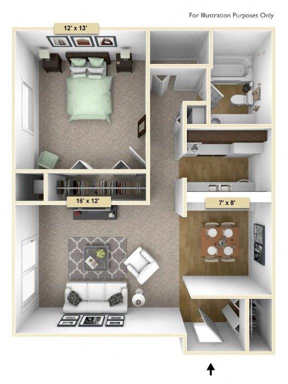 Sycamore One Bedroom Floor Plan at Perry Place, Grand Blanc, 48439