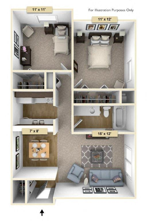 Sycamore Two Bedroom Floor Plan at Perry Place, Grand Blanc, Michigan