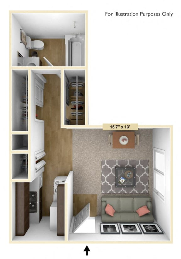 Cambridge Studio Floor Plan at Huntington Place, Michigan