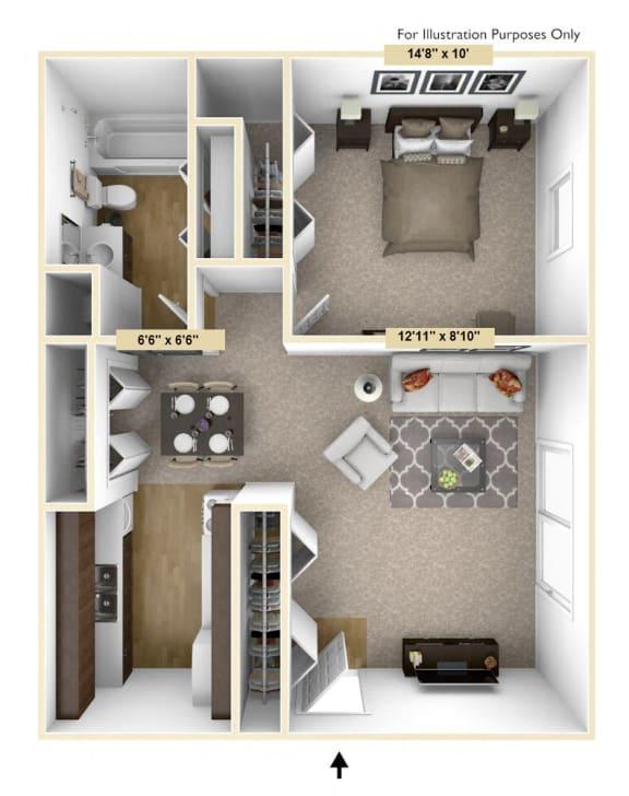 Heritage - One Bedroom One Bath Floor Plan at Huntington Place, Essexville, MI