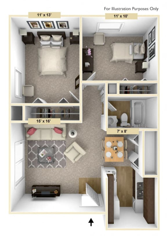 Legacy - Two Bedroom One Bath Floor Plan at Huntington Place, Essexville, MI, 48732