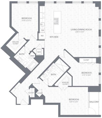 C2 Floor Plan at Element 28, Bethesda, 20814
