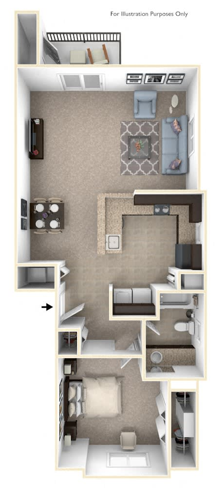 One Bedroom End Floor Plan at The Reserve at Destination Pointe, Grimes